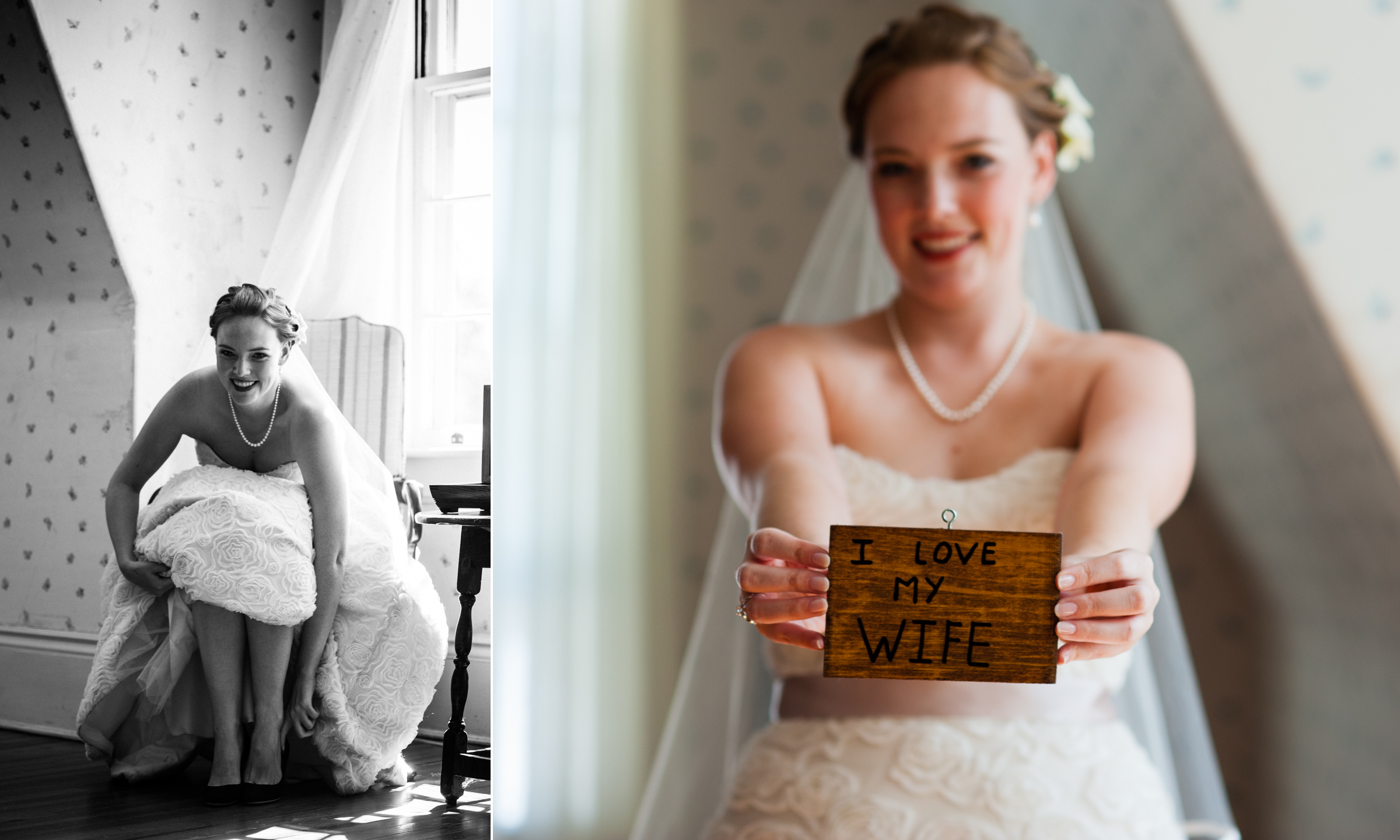 pretty bride holds up a custom wooden sign that her groom to be made