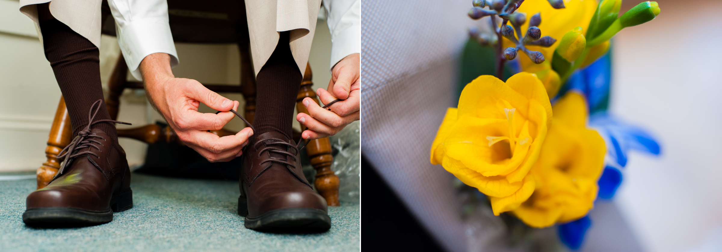 grooms boutonniere was made of beautiful yellow and blue flowers
