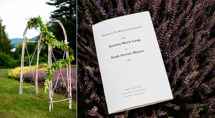 gorgeous birch arborway was placed in front of a gorgeous garden of purple lavender for this beautiful garden ceremony