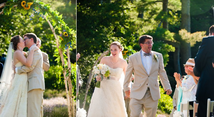 bride and groom exchange their first kist as husband and wife and then walk down the aisle very excitedly