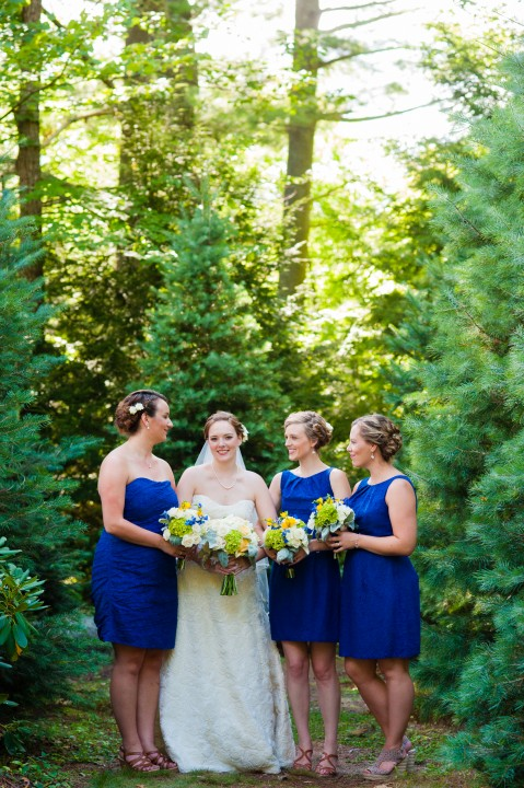 gorgeous bride and her ladies stand amount a beautiful stand of pine trees