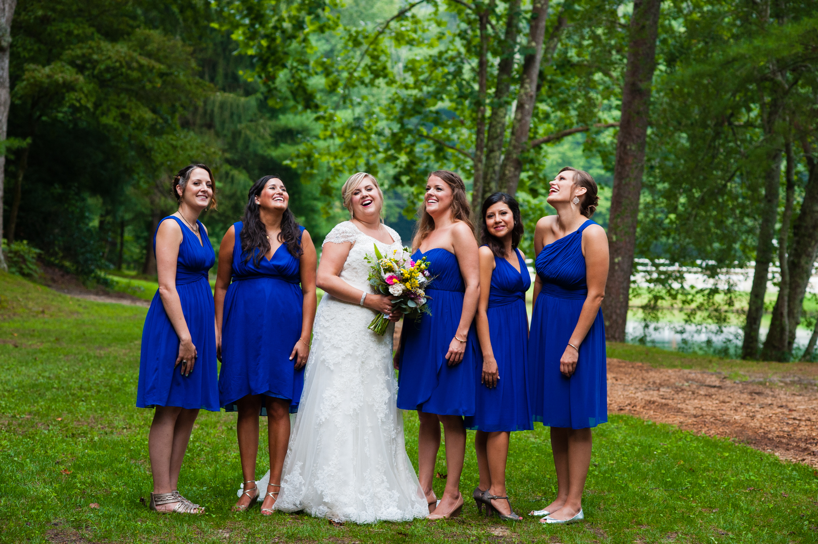 the bride and her beautiful ladies giggling together