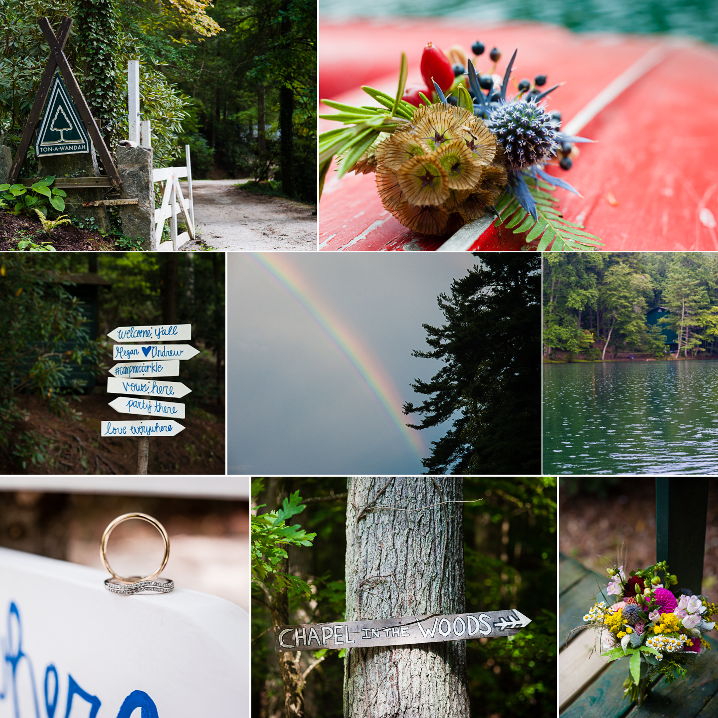 a collage of pictures show the gorgeous outdoor setting for this rustic summer camp wedding in the mountains of NC