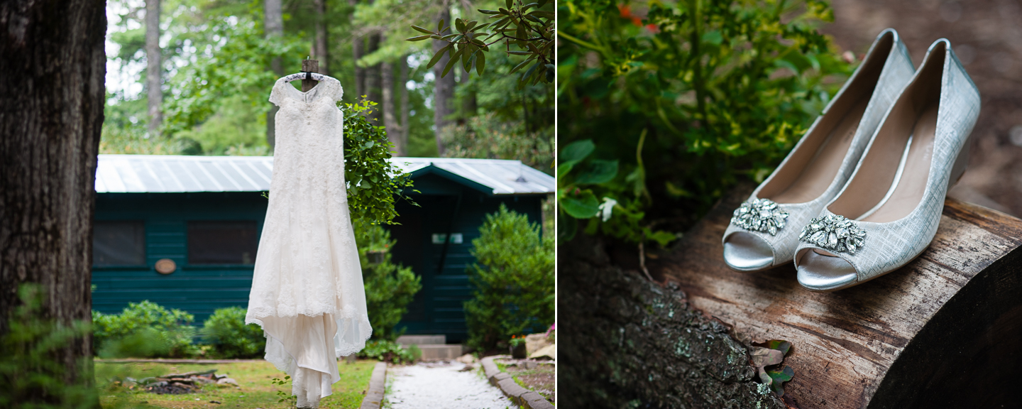 gorgeous lace wedding gown hangs on a lamp post outside a rustic summer camp cabin