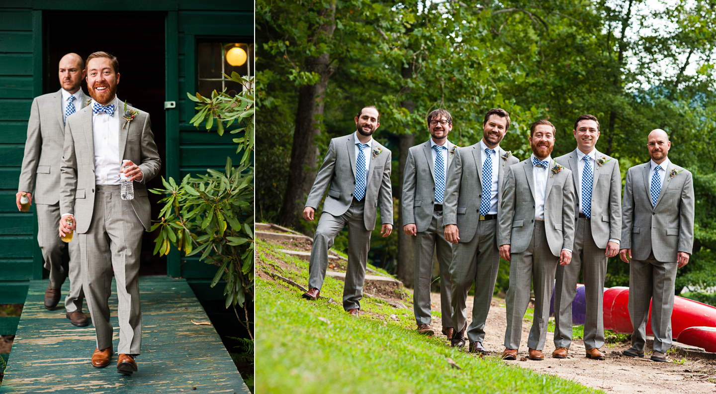 the groom with his handsome groomsmen pose for the pictures by a mountain lake