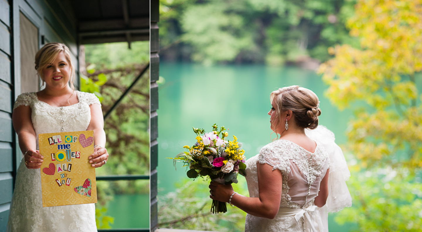 beautiful bride shows off her handmade card for her groom