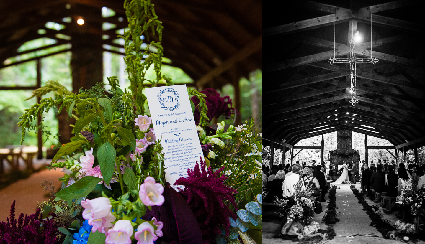 gorgeous flowers adorned this outdoor chapel in the woods wedding ceremony