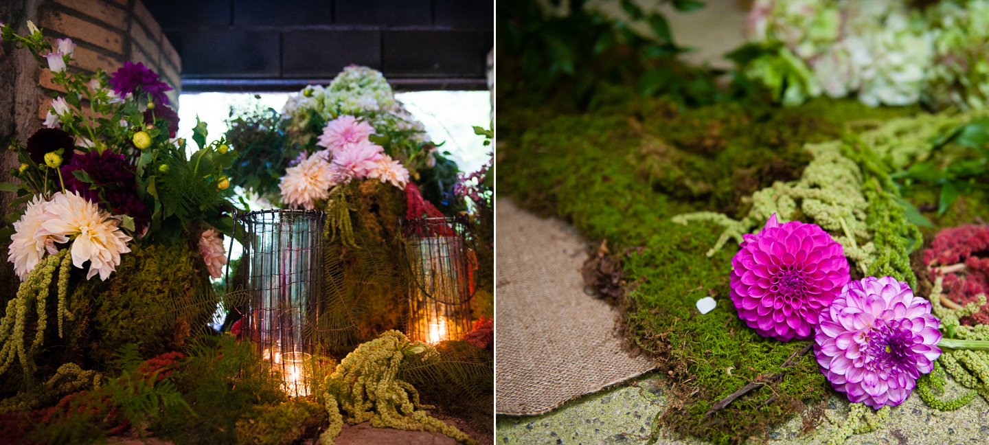 flowers and candles adorned the alter of this outdoor chapel in the woods