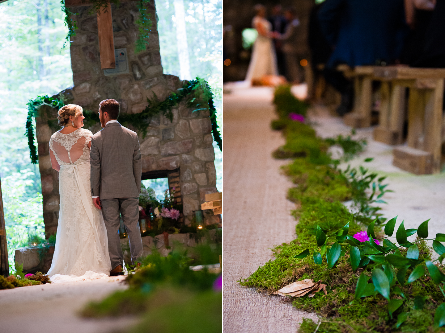 a gorgeous burlap aisle runner with flowers was a highlight of this outdoor wedding ceremony