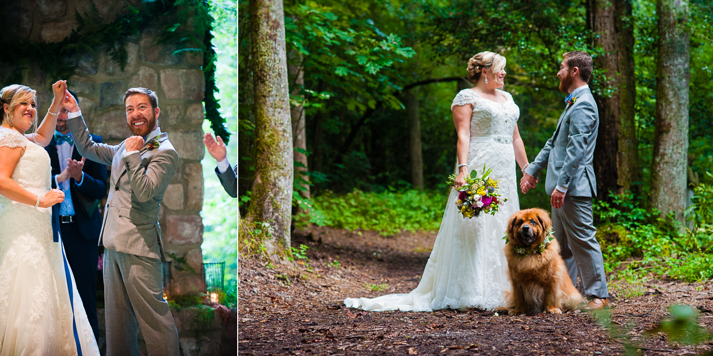 bride and groom cheer at the end of their wooded ceremony