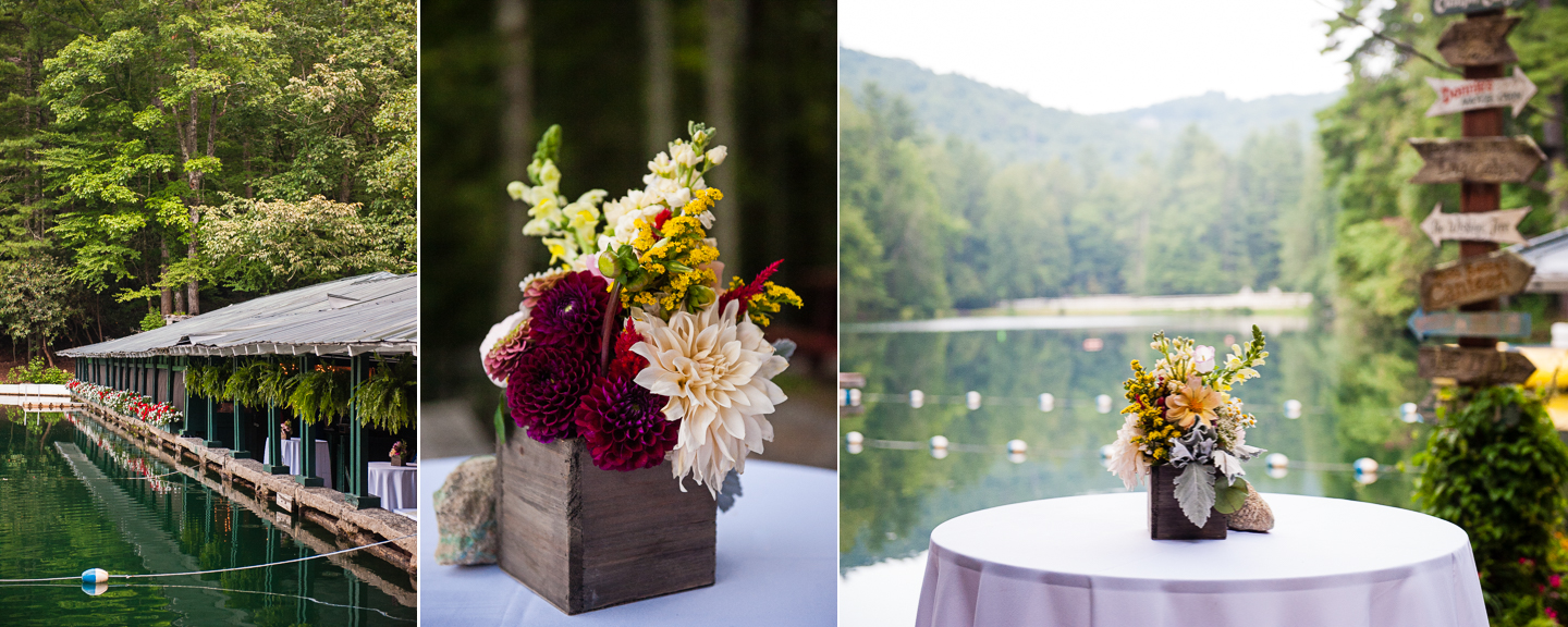 a gorgeous mountain lake was the backdrop for this rustic summer camp wedding
