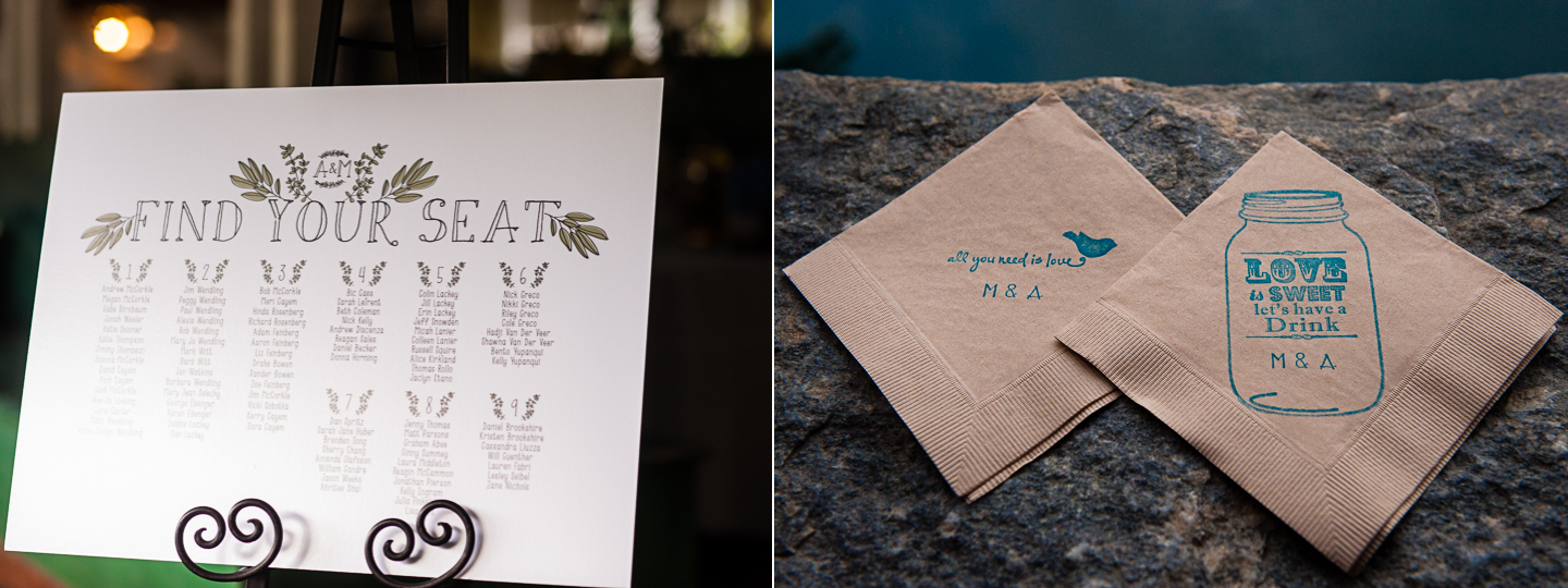 an elegant white seating chart and custom napkins for the guests were some of the little details of this summer camp wedding