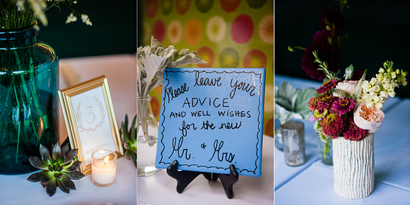 gorgeous candles and elegant flowers with succulents adorned the square tables of this summer camp wedding