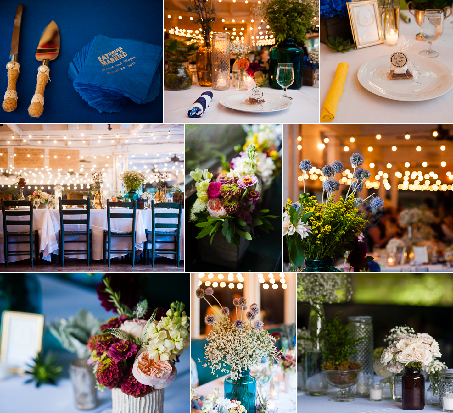 a collage of images featuring some of the gorgeous floral details from a colorful elegant summer camp wedding