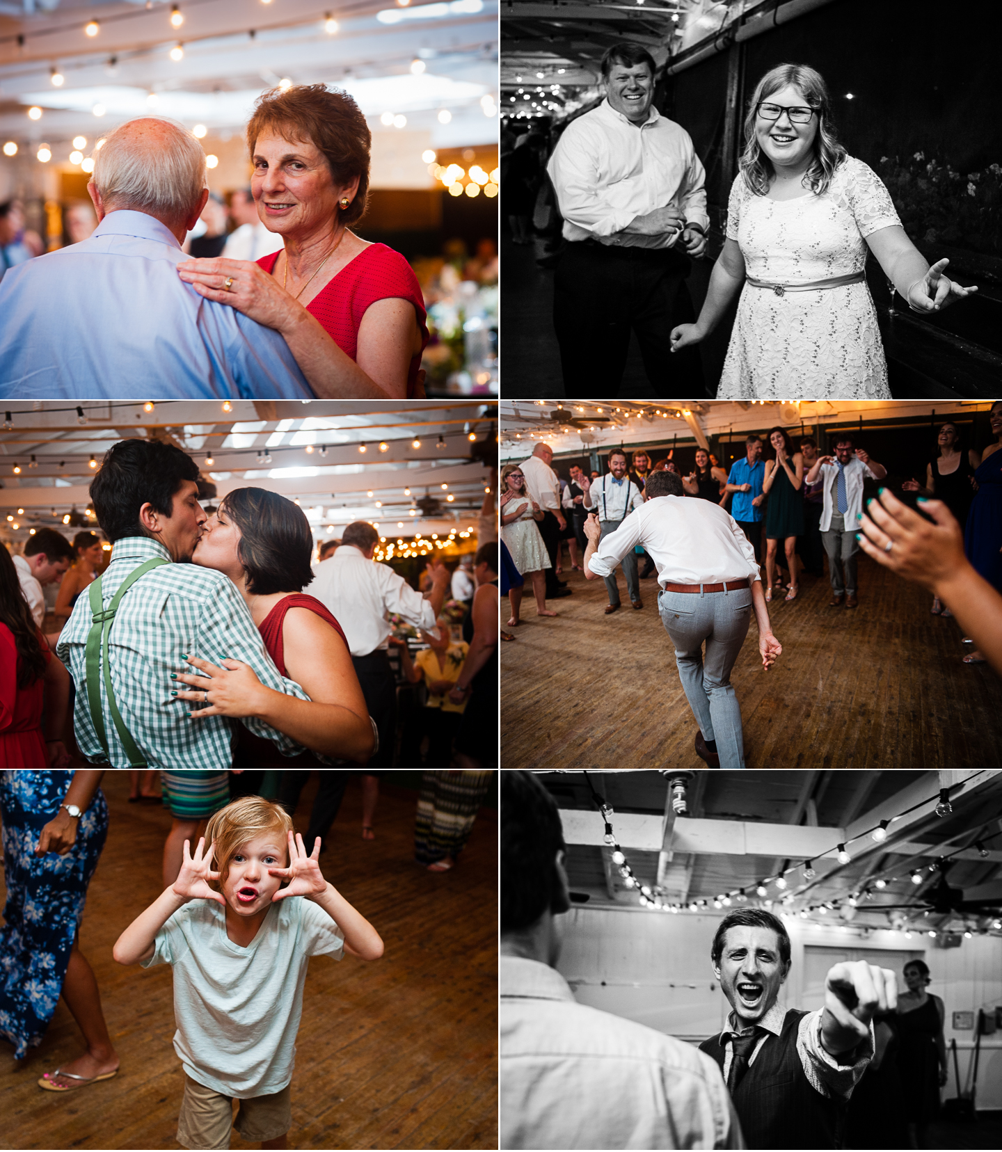 a collage of wedding guests dancing and having fun at a summer camp wedding
