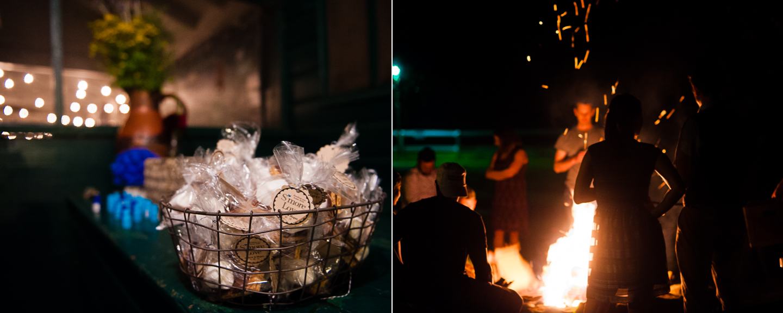 s'mores wedding favors and a bonfire followed the wedding reception at Camp Ton a Wandah