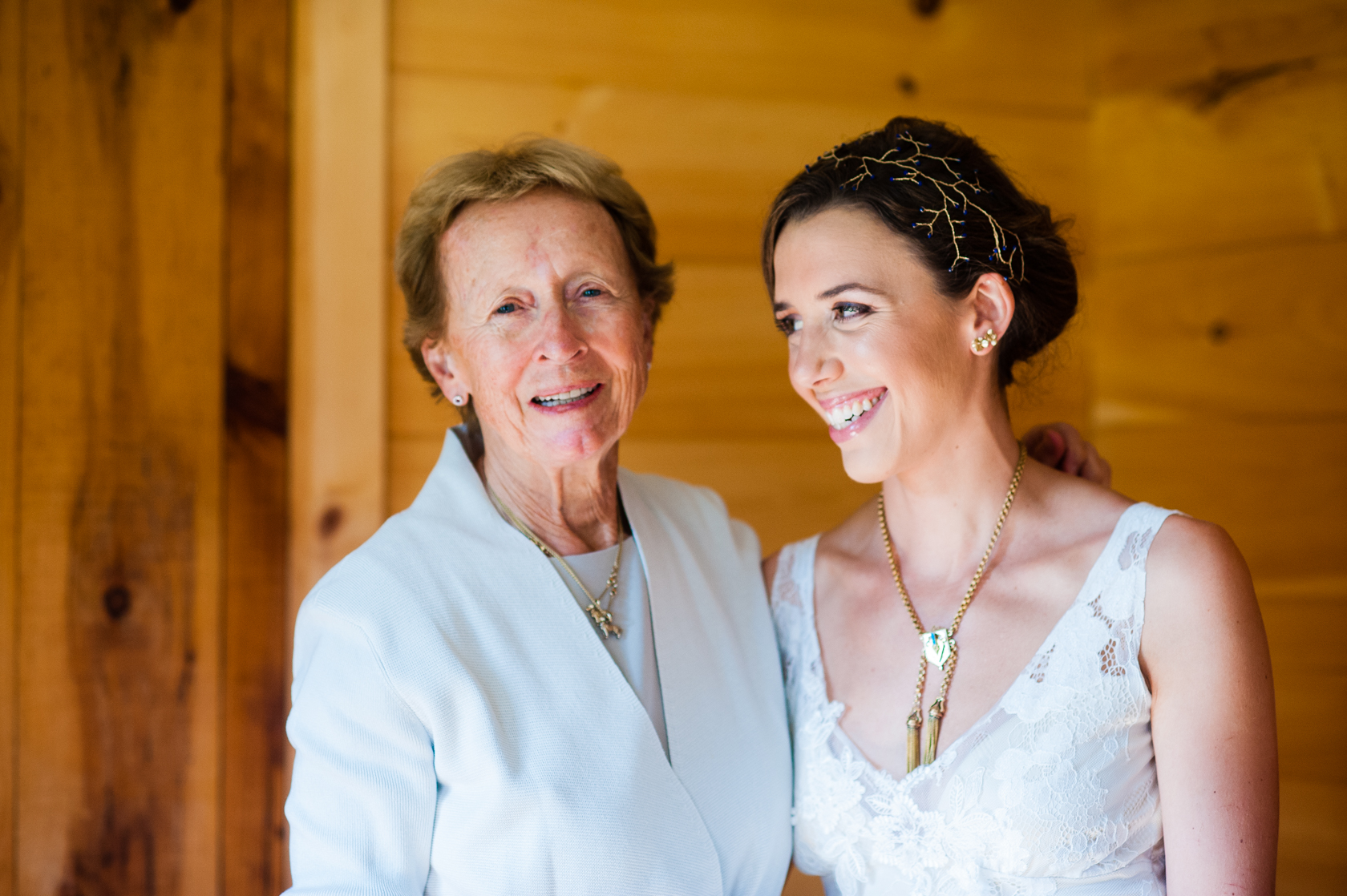 bride and her grandmother smiling during a quick portrait