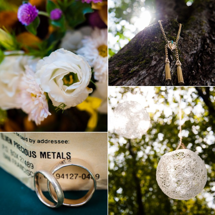 beautiful details for this summer camp wedding included handmade gold wedding rings and wildflowers
