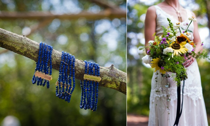Detail photo of the gorgeous blue bracelets the bride made
