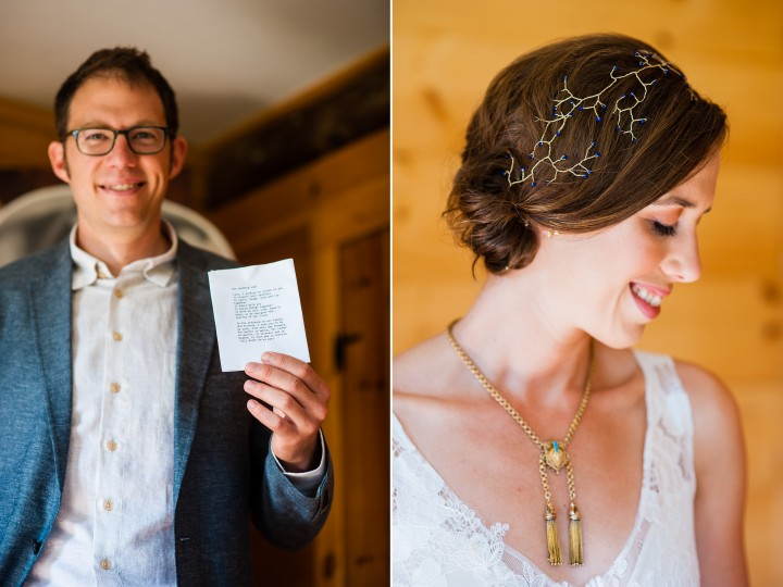 Groom holds up his wedding vows and bride shows off her gorgeous headpiece she made herself