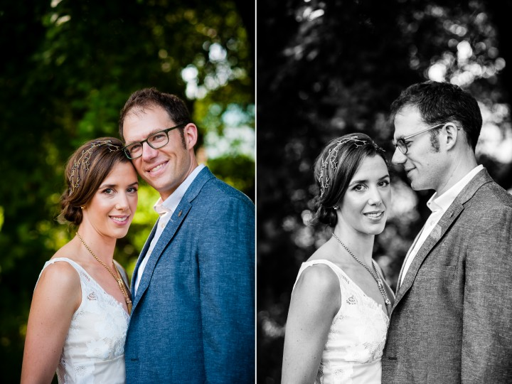 beautiful bride and groom pose together for a couple wedding portraits at their summer camp wedding