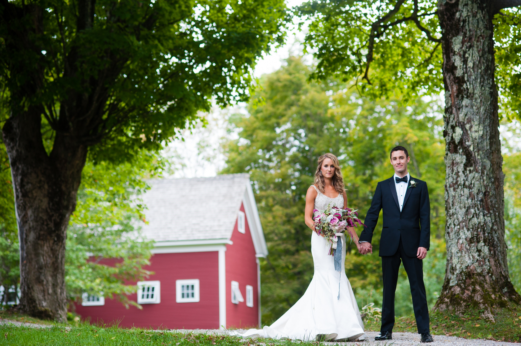 newly married couple holds hands under a big vermont maple tree