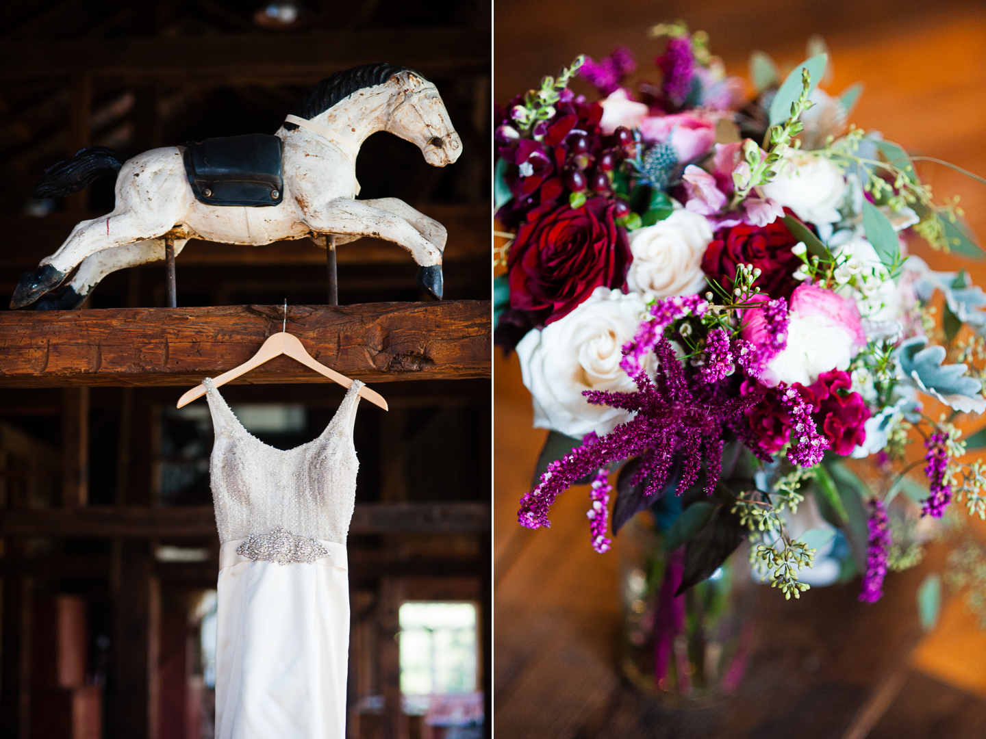 lace wedding gown hangs in dark wood barn next to gorgeous pink bouquet