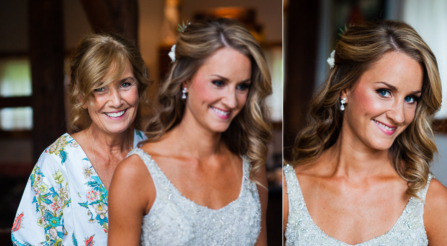 loving mom helps her daughter get into her wedding gown