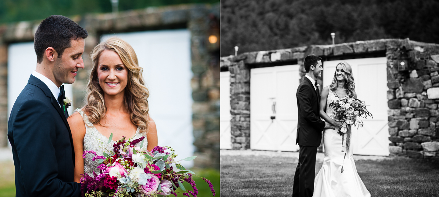 bride and groom portraits during their rustic farm wedding