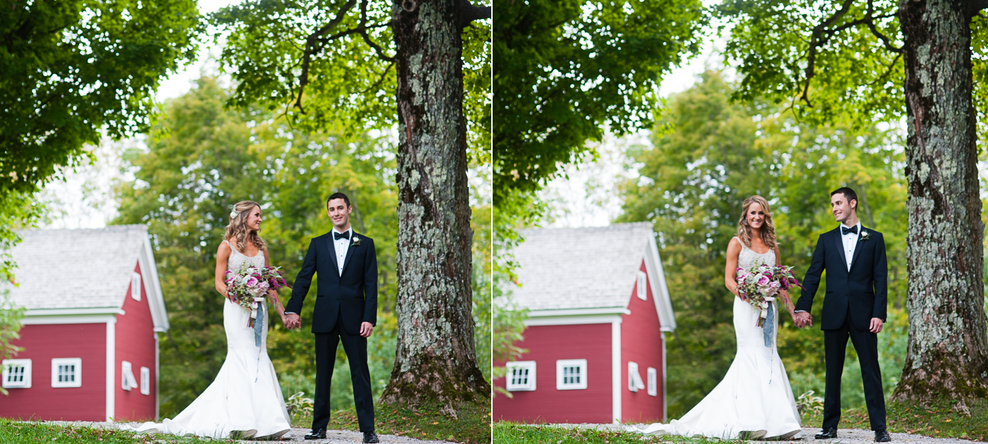 bride and groom hold hands under gorgeous big maple tree in Vermont