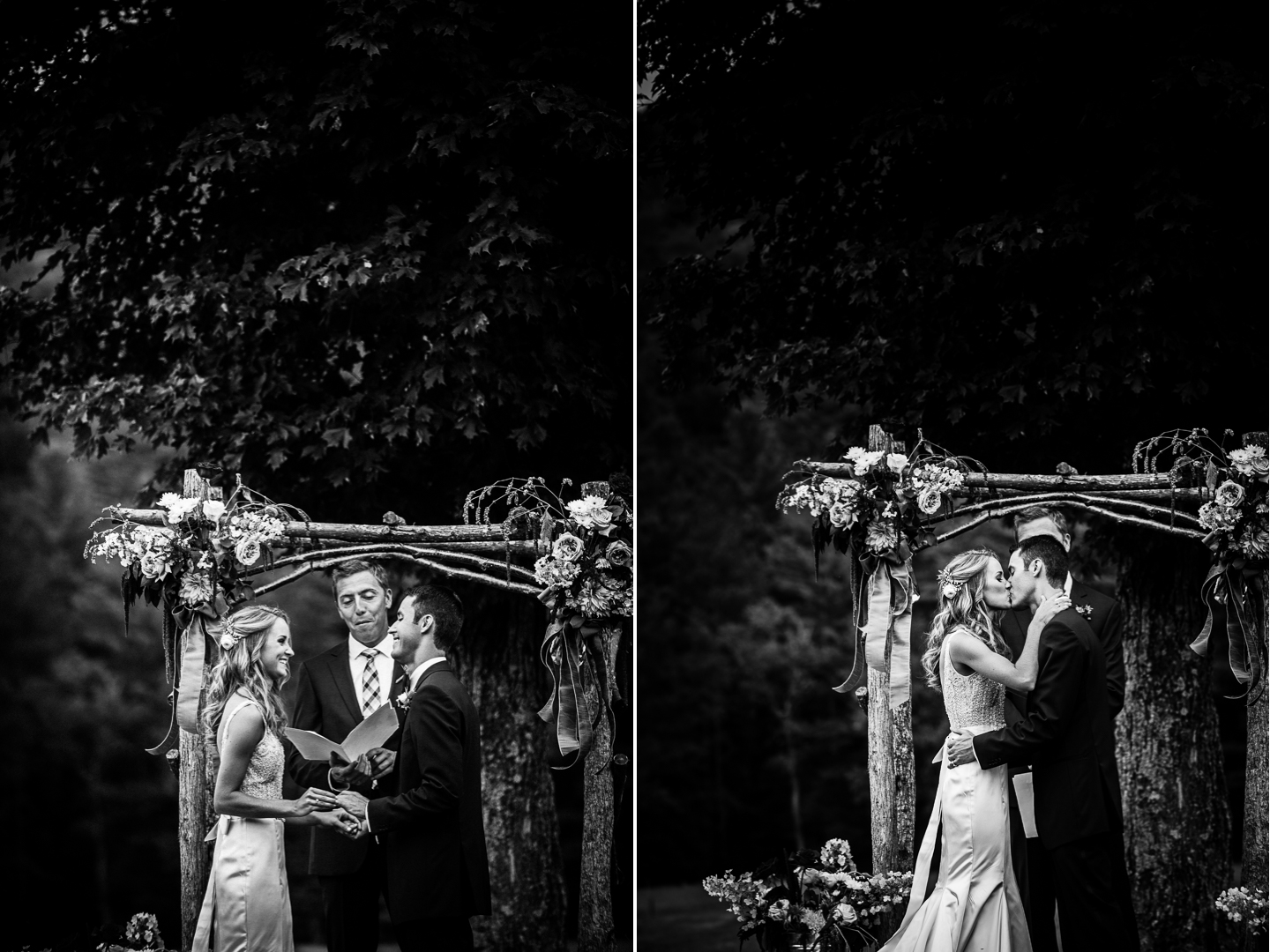bride and groom exchange vows and kiss during their beautiful farm ceremony