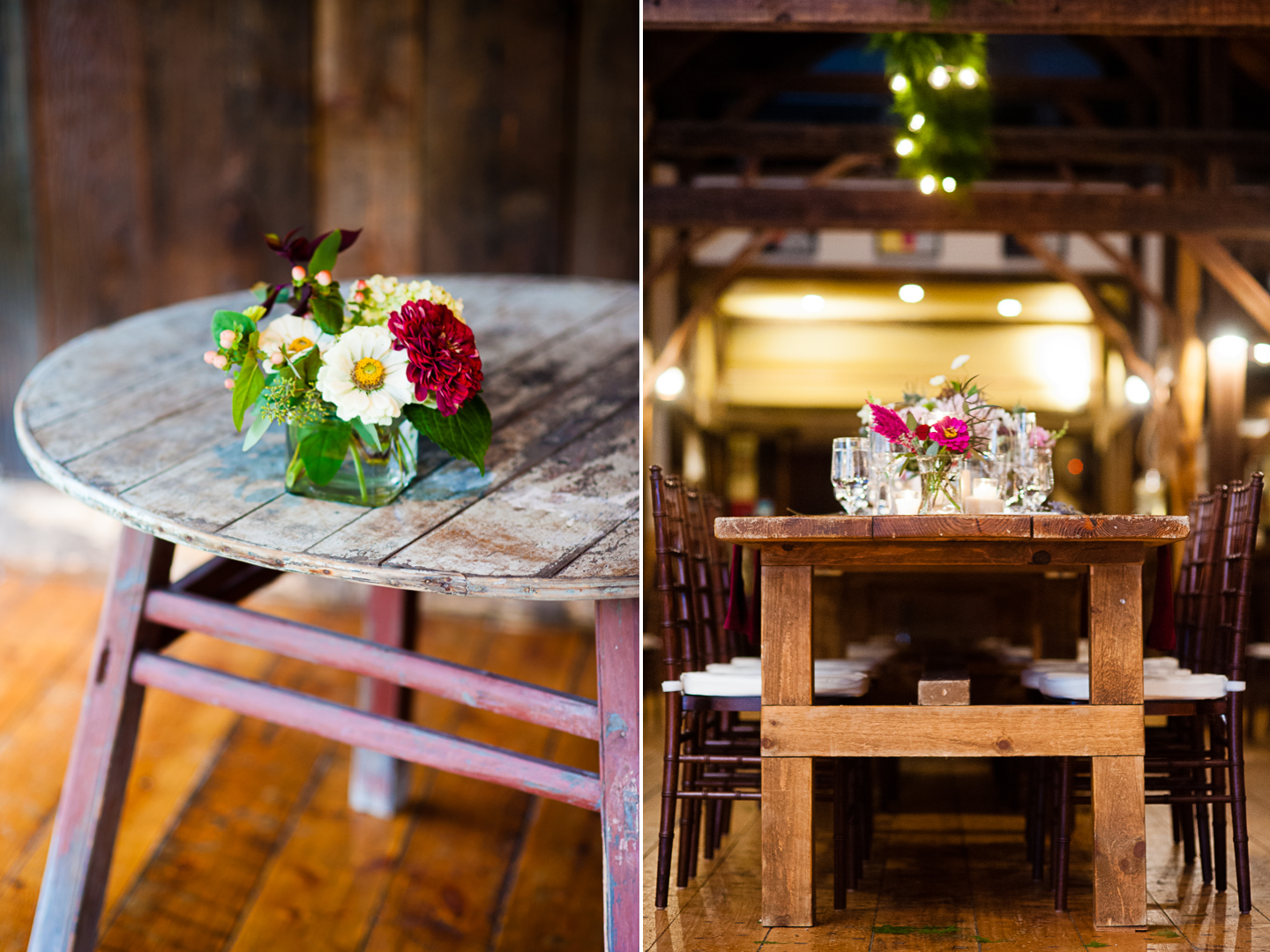 flowers and rustic wood tables decorated the barn wedding reception in vermont