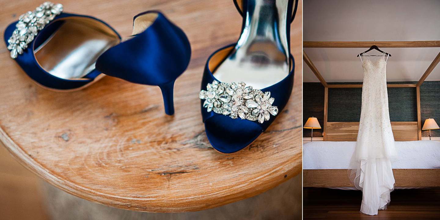 gorgeous blue wedding shoes and a beaded wedding dress hands from wooden bed post