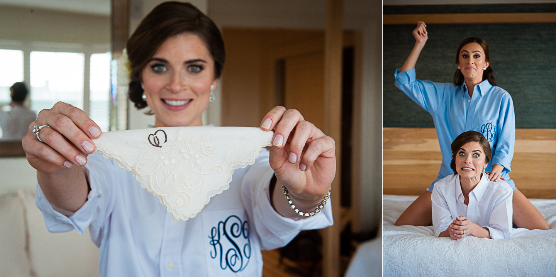 bride holds up her grandmothers handkerchief