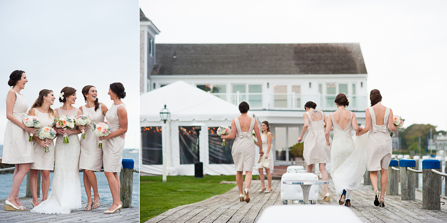 gorgeous ladies with the bride show off their elegant cream bridesmaid dresses by the ocean
