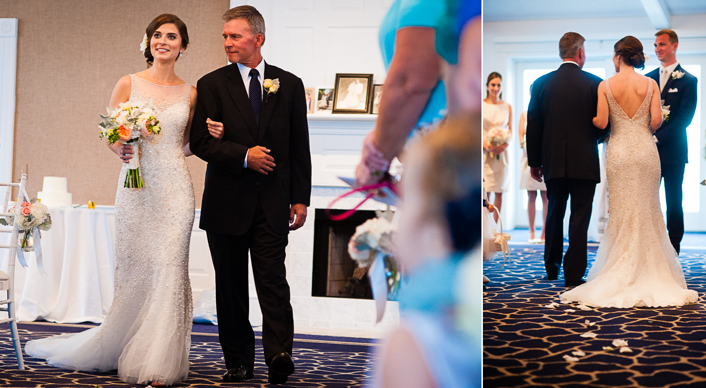 beautiful bride and her dad walk down the aisle