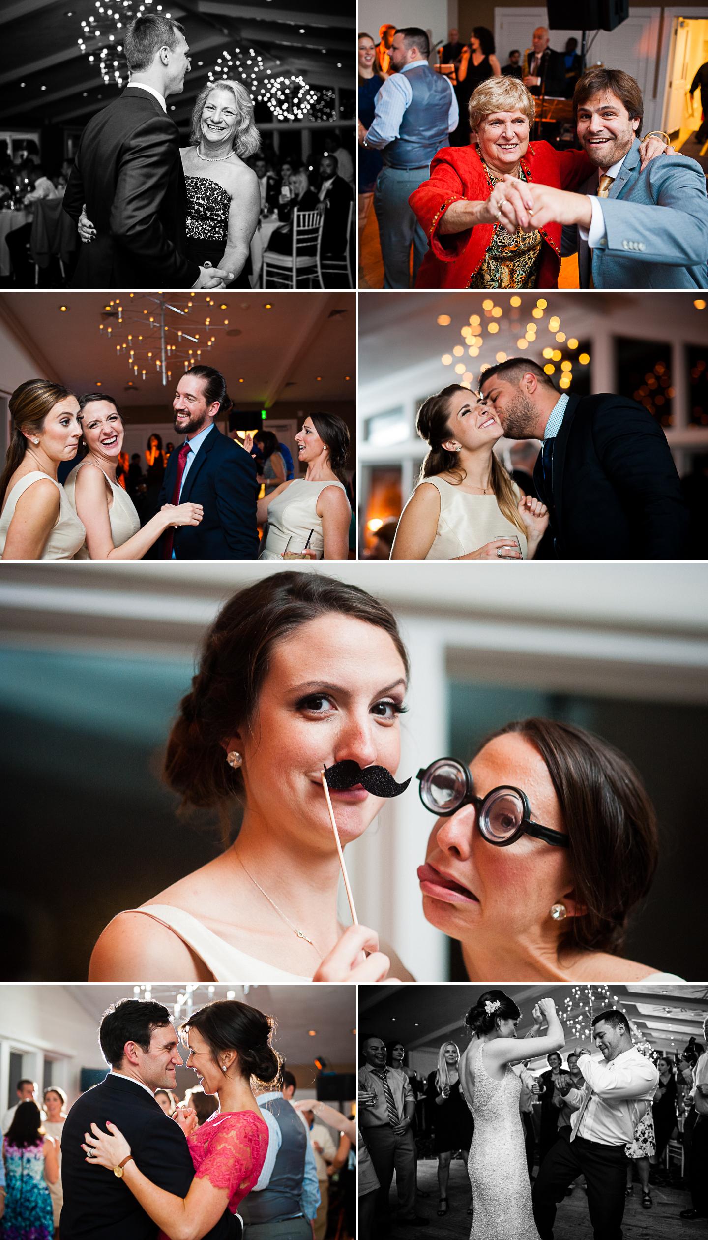 collage of wedding guests having a blast on the dance floor of  seaside wedding