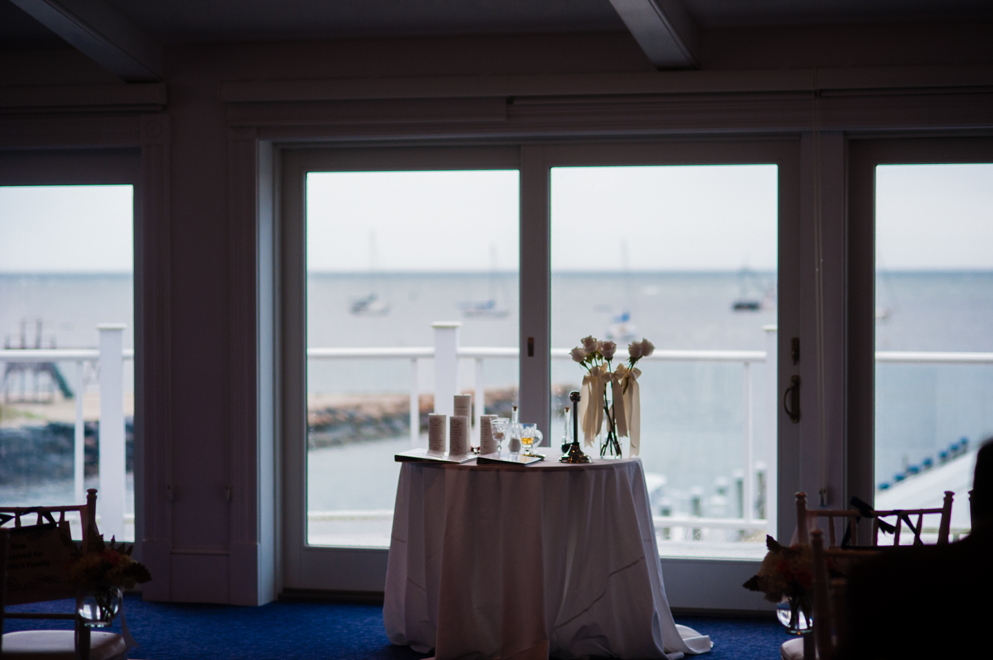 the ceremony took place in a ballroom overlooking the wychmere harbor