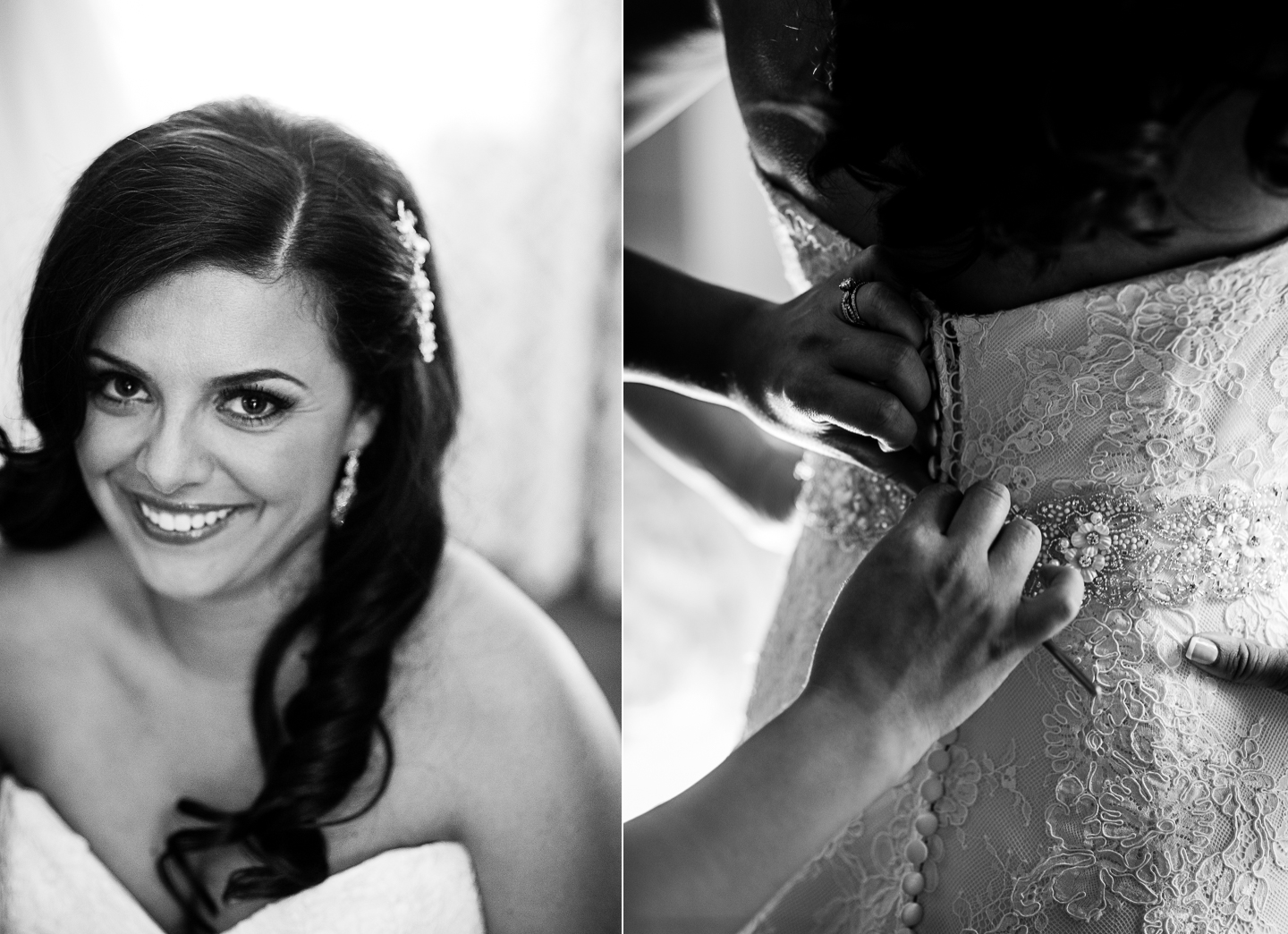 gorgeous bride gets some help buttoning her lace wedding gown