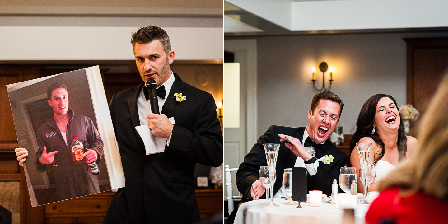 the best man gives a hilarious speech as the bride and groom laugh hysterically