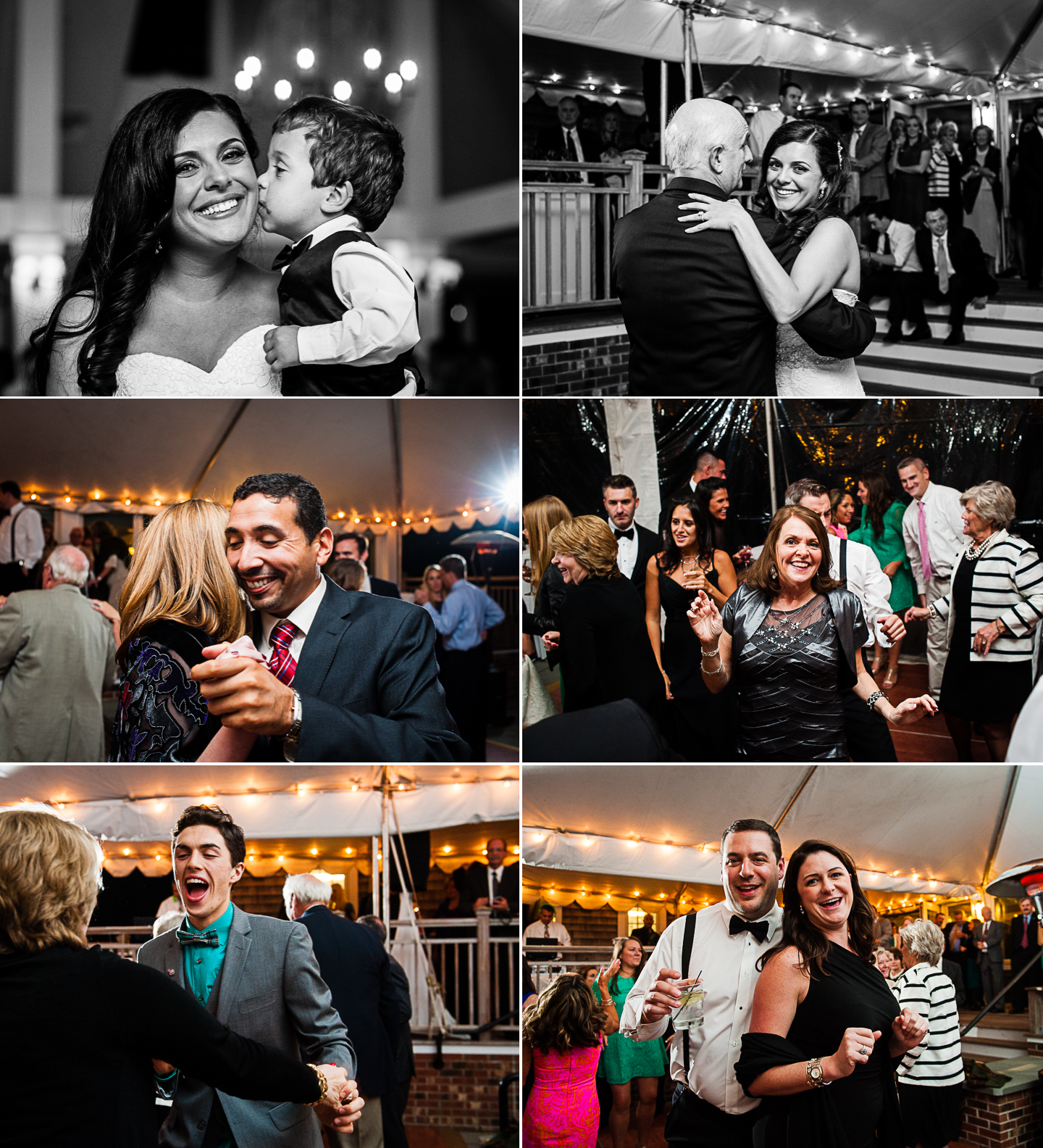 wedding guests have a blast on the dancefloor during this tented country club wedding