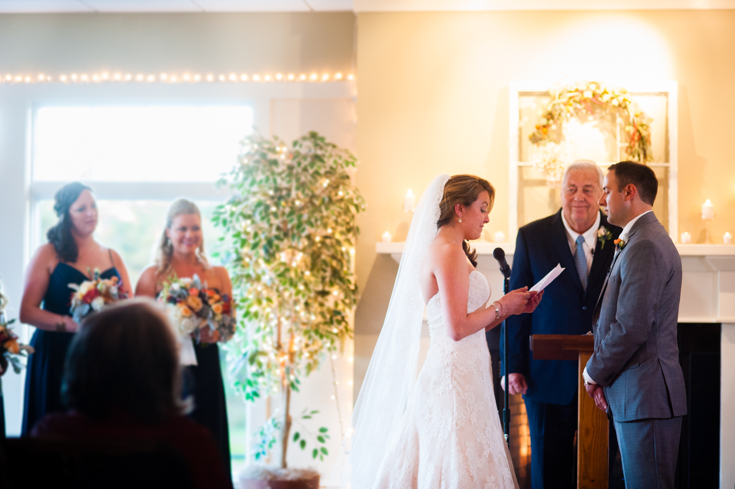 Indoor fall ceremony on cape cod