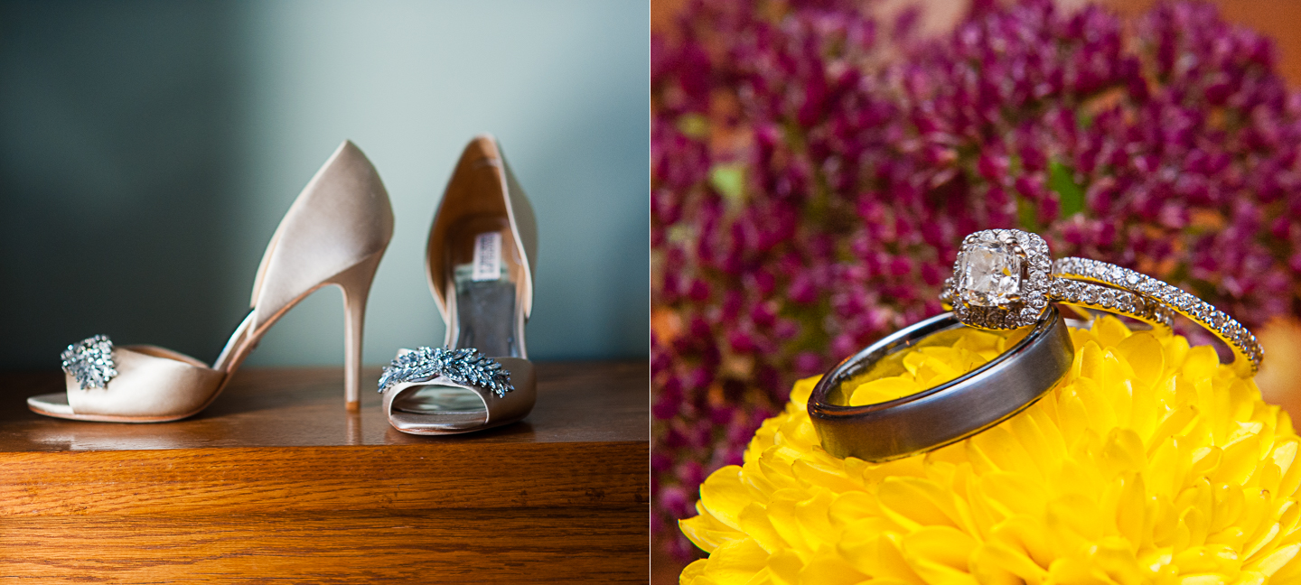 pretty wedding details wedding rings and sparkly shoes