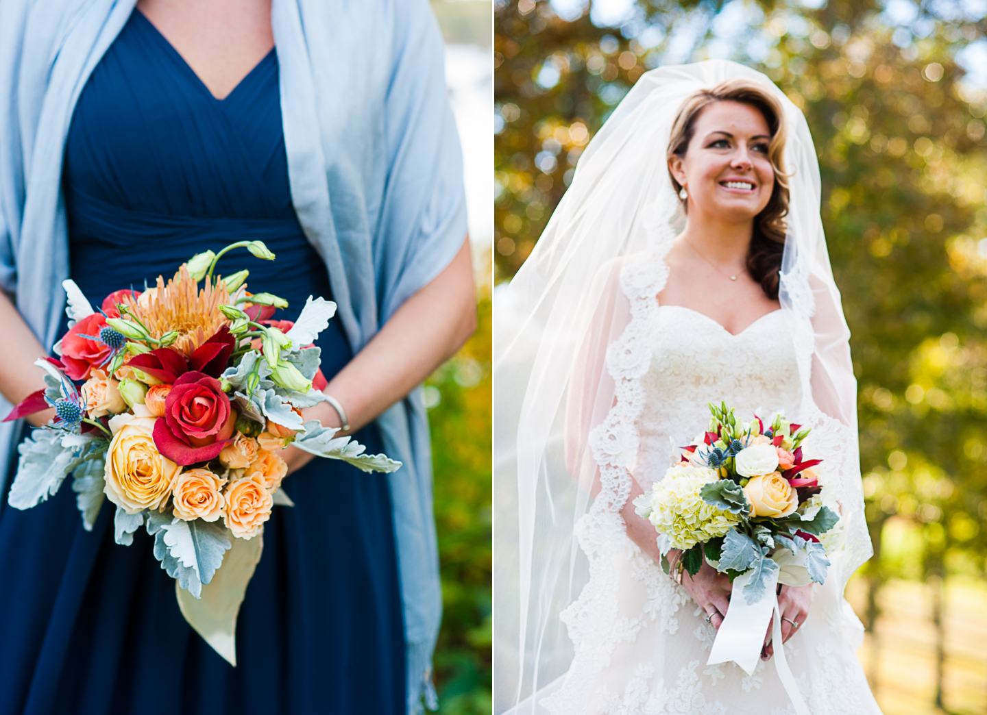 gorgeous bridal portrait with fall wedding flowers