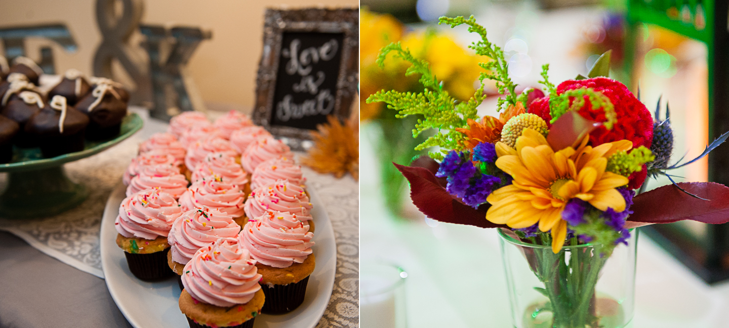 cupcakes and beautiful yellow flowers