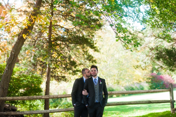 Asheville fall estate wedding two grooms for portraits