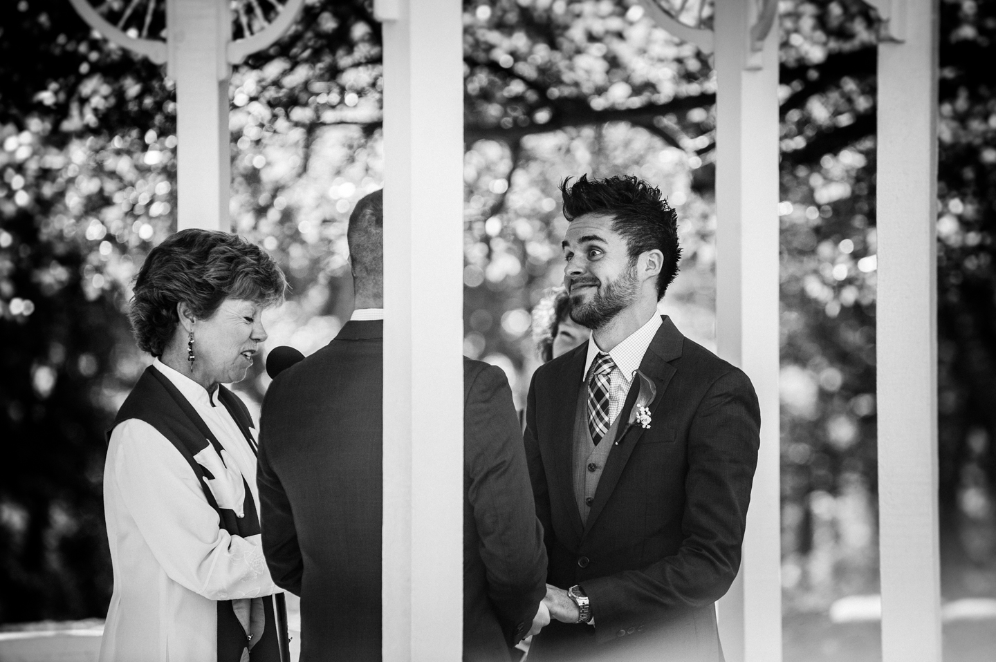 great emotion during fall wedding ceremony