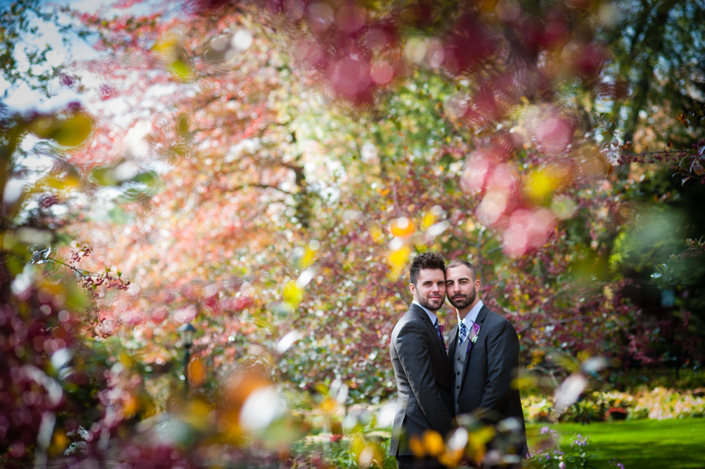 two handsome grooms fall wedding  portraits