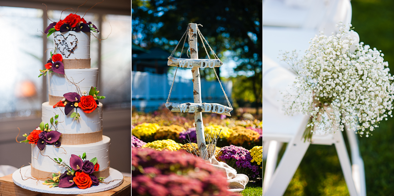 beautiful birch bark wedding signs and stunning floral wedding cake