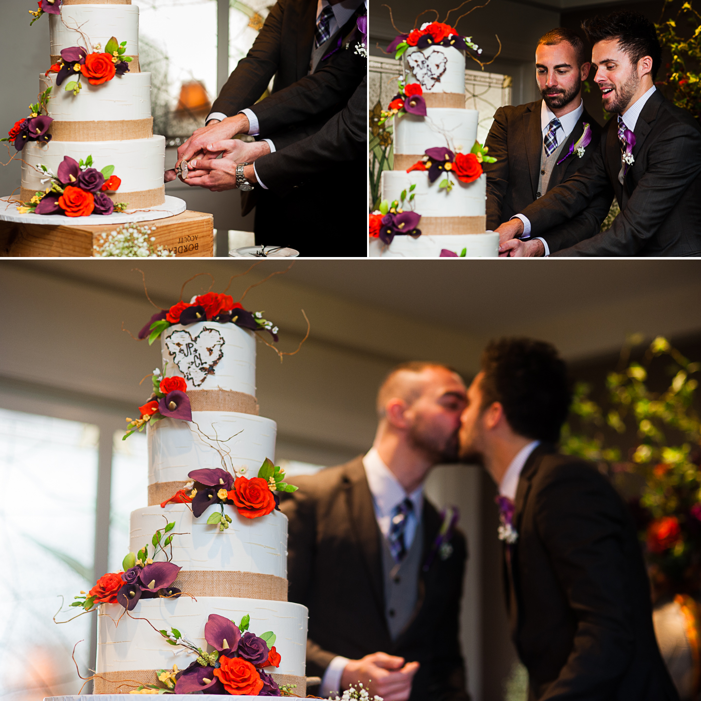cake cutting with two handsome grooms